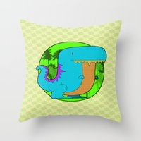 dino Throw Pillows featuring Dino by R.E.L