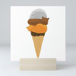 Cat Cream Cone Mini Art Print