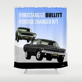 Ford Mustang and Dodge Charger from Bullitt Shower Curtain