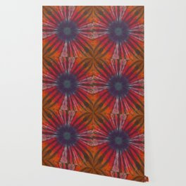 Tie Dye Flower Red Orange Purple Wallpaper