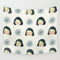 girly Wall Tapestries featuring Girly : 소녀감성 by Young Ju