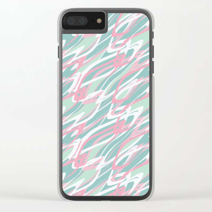 Abstract pink turquoise waves . Clear iPhone Case