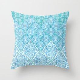 Aqua Damask Wave Throw Pillow
