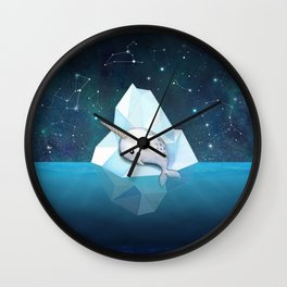 Baby Narwhal on Iceberg Wall Clock