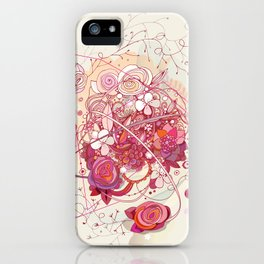 Floral universe orbit iPhone Case