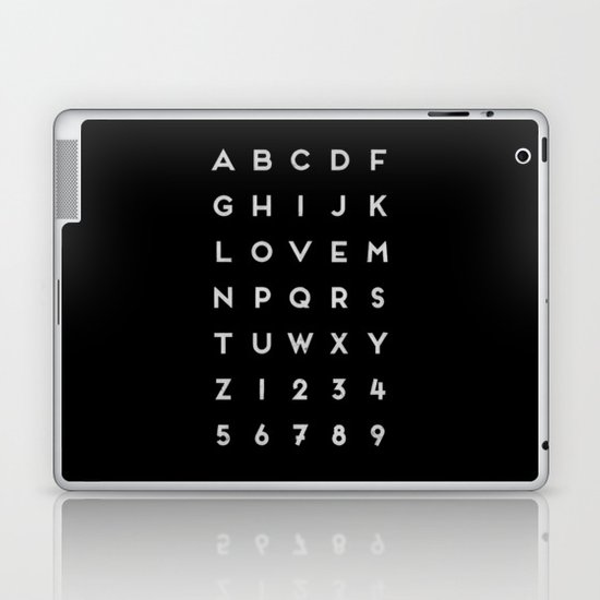 Letter Love - Black Laptop & iPad Skin