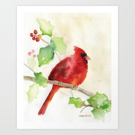 Cardinal and Holly Watercolor Art Print