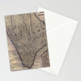 Vintage NYC and Brooklyn Map (1847) Stationery Cards