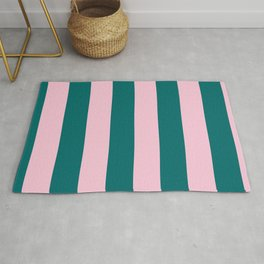 Classic Cabana Stripes in Conch Pink + Dark Teal Green Rug