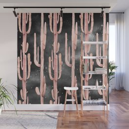 Night Cactus Pink Coral Starry Night Wall Mural
