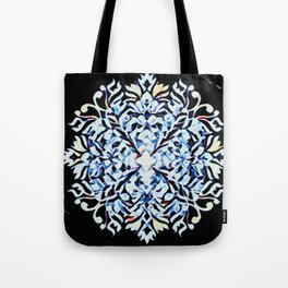 Graphic Diced Flower Blue Tote Bag