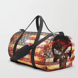 Skull on Rusted American Flag Duffle Bag