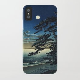 Moon over Ninomiya Beach by Kawase Hasui - Japanese Vintage Woodblock Ukiyo-e Painting iPhone Case