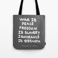 1984 Tote Bags featuring 1984 by Stephanie Janeczek