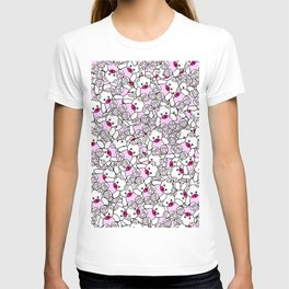 Cute Adorable Pink White Black Teddy Bear Collage T-shirt