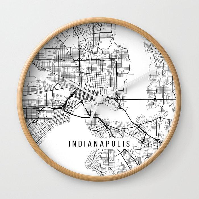 Indianapolis Map, USA - Black and White Wall Clock by mainstreetmaps