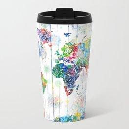world map mandala white Travel Mug