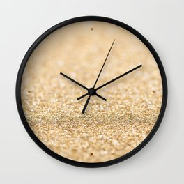 Beautiful champagne gold glitter sparkles Wall Clock