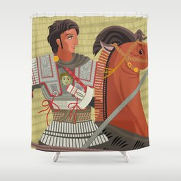 alexander the great mosaic riding a horse Shower Curtain