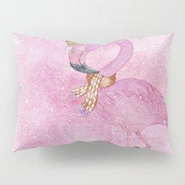 Winter Woodland Stranger- Cute Flamingo Bird Snowy Forest Illustration Pillow Sham