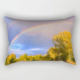 Double rainbow in autumn Rectangular Pillow