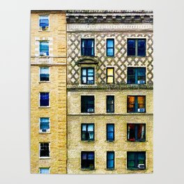 New York City Apartment Building Poster