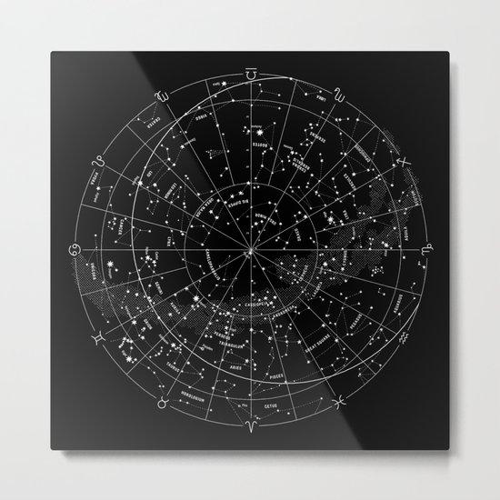 Constellation Map - Black & White Metal Print