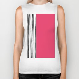 Stripes & Strawberry Pink Biker Tank