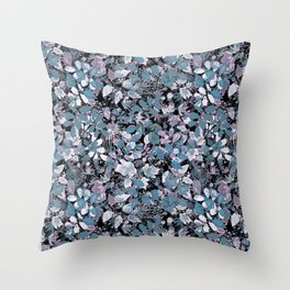 Openwork blue and purple leaves on a black background . Throw Pillow