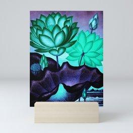 Mint Indigo Sacred Egyptian Bean: Temple of Flora Mini Art Print