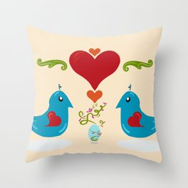 Kawaii Folk Art Birds Throw Pillow