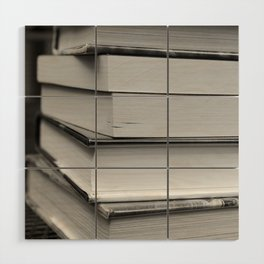 Stack of Books (in black and white) Wood Wall Art
