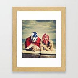 mexican luchadores on honey moon Framed Art Print