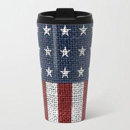 USA American Flag Rustic Jute Style Travel Mug