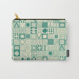 geo wolf teal ivory Carry-All Pouch