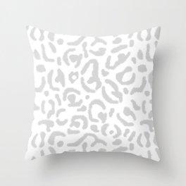 Grey Leopard Skin Print Gray White Cheetah Cat Pattern Throw Pillow