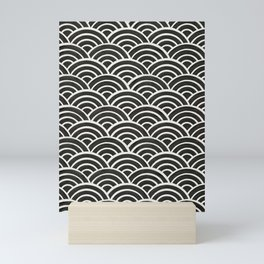 Japanese Seigaiha Wave – Black & White Palette Mini Art Print