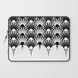 black and white art deco inspired fan pattern Laptop Sleeve