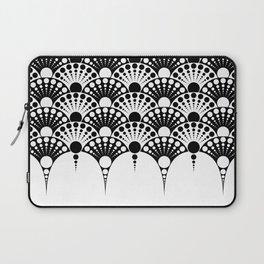 black and white art deco inspired fan pattern Laptop Sleeve