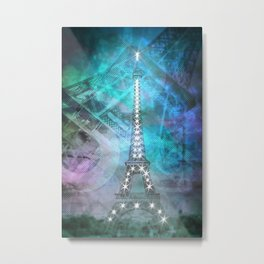 Illuminated Pop Art Eiffel Tower | Graphic Style Metal Print