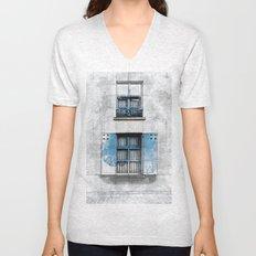 Architect Drawing of Blue Wooden Windows Unisex V-Neck