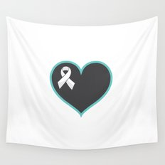 Cancer Ribbon Heart Wall Tapestry