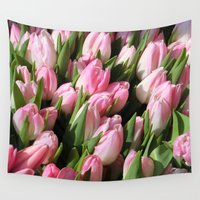 tulips Wall Tapestries featuring  Tulips. by Assiyam