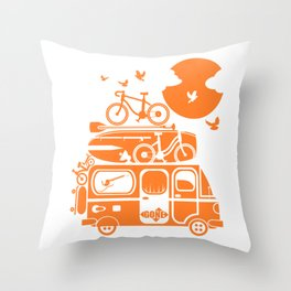 Funny family vacation camper Throw Pillow