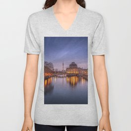 Berlin Germany Bode Museum Canal river Evening Cities Building Rivers Houses Unisex V-Neck
