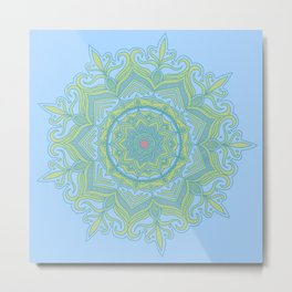Blue and Green Flower Mandala Metal Print
