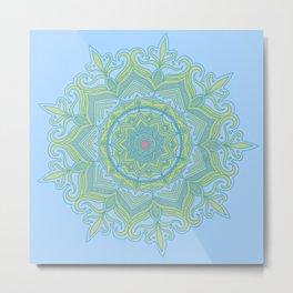 Blue and Green Flower Mandala Metal Print