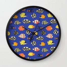 Exotic School Of Reef Fish Wall Clock