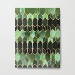Stained Glass 5 - Forest Green Metal Print