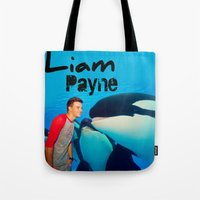 liam payne Tote Bags featuring Liam Payne by Marianna